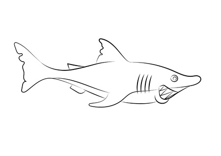 childrens book: illustration of an animation shark for the childrens book
