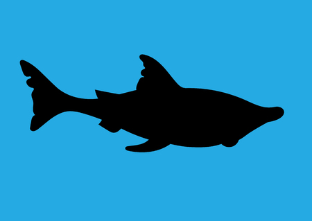 childrens book: illustration of a silhouette of a shark for the childrens book on blue background Illustration