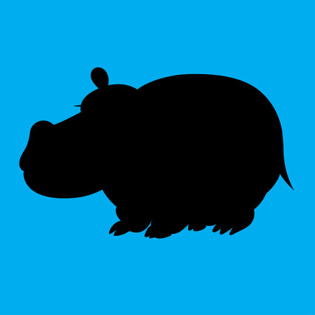 childrens book: Illustration of a silhouette hippopotamus for the childrens book Illustration