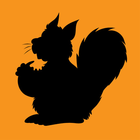 childrens book: Illstration of the silhouette the character squirrel with a nut for the childrens book Illustration