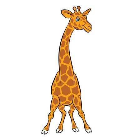 childrens book: Illustration of an amusing animation giraffe for the childrens book