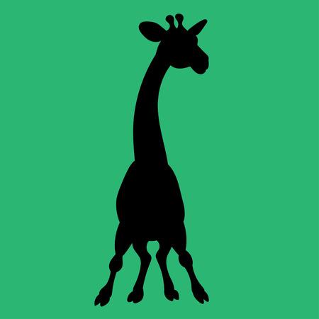Illustratie van een giraf van de silhouetanimatie voor het kinderboek Vector Illustratie
