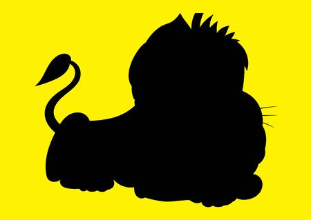 childrens book: illustration of an animation silhouette  lion for the childrens book Illustration
