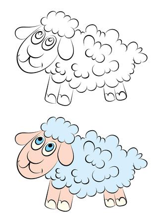 Ilustración De Un Cordero Alegre Con El Libro Ojos Azules Niños ...