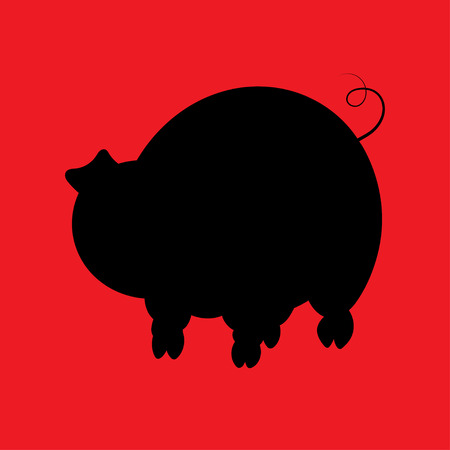 childrens book: Illstration of the silhouette pig for the childrens book Illustration