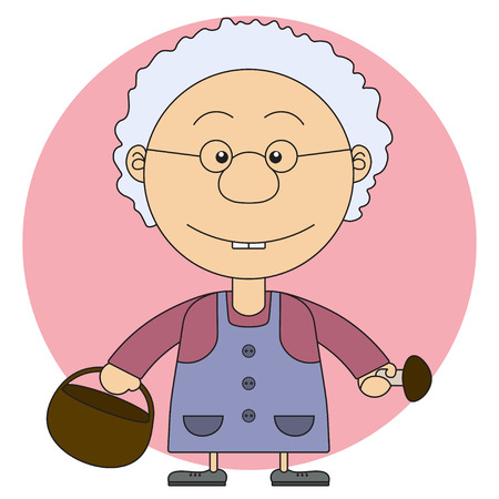 turnaround: The grandmothers illustration with a basket and mushrooms for the coloring book Illustration