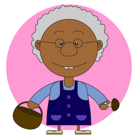 african basket: African grandmothers illustration with a basket and mushrooms for the coloring book Illustration