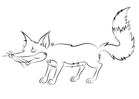 childrens book: Illustration of an animation cunning fox for the childrens book of a coloring