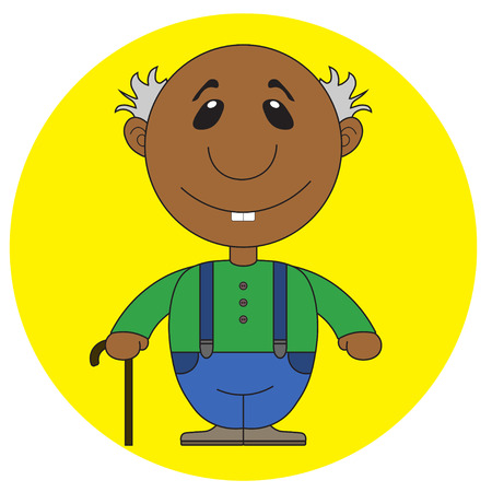 childrens book: Illustration of the old african grandfather with a cane for the childrens book