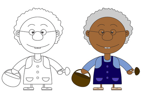 turnaround: African  grandmothers illustration with a basket and mushrooms for the coloring book