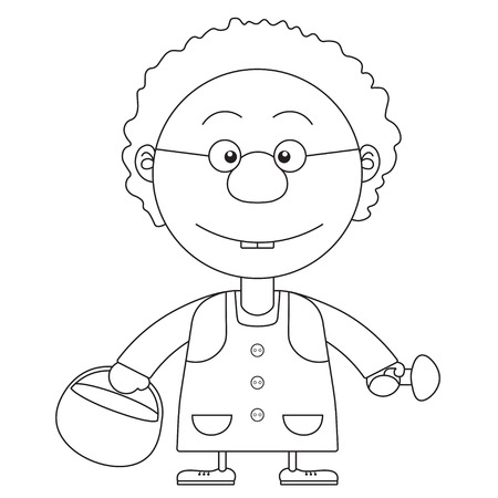 nanny: The grandmothers illustration with a basket and mushrooms for the coloring book Illustration