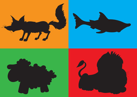 illustration of animation silhouette of animals for the childrens book of riddles