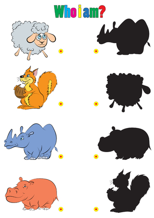 riddles: illustration of animation silhouette of animals for the childrens book of riddles