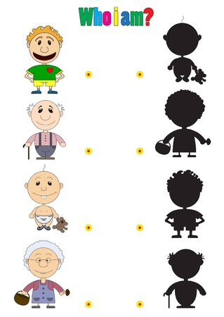 futbol infantil: Ilustración de caracteres para el libro para niños con acertijos. En la foto del bebé, el hombre al jugador de fútbol, ??el abuelo y la abuela están representados. Vectores