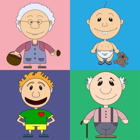riddles: Illustration of characters for the childrens book with riddles. On the picture the baby, the man the football player, the grandfather and the grandmother are represented.
