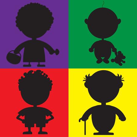 futbol infantil: Ilustración de la silueta de caracteres para el libro de niños con acertijos. En la foto del bebé, el hombre al jugador de fútbol, ??el abuelo y la abuela están representados. Vectores