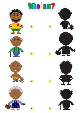 riddles: Illustration of african characters for the childrens book with riddles. On the picture the baby, the man the football player, the grandfather and the grandmother are represented.