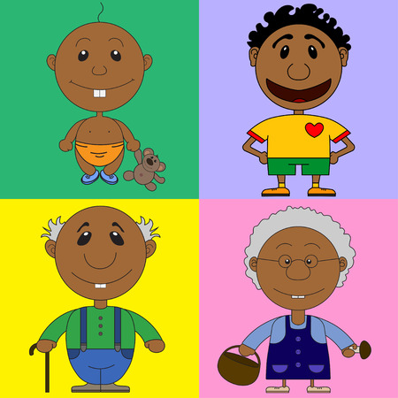 childrens book: Illustration of african characters for the childrens book with riddles. On the picture the baby, the man the football player, the grandfather and the grandmother are represented.