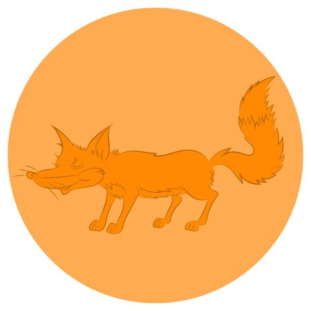 cunning: Illustration of an animation cunning fox for  icon.