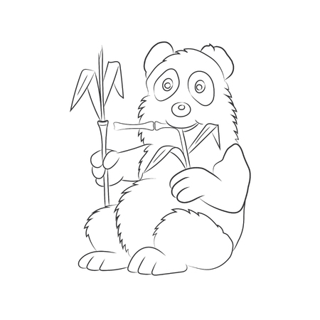 childrens book: Panda illustration with a bamboo branch. The image for the childrens book.