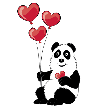 childrens book: Panda illustration with a branch of a bamboo and balloons in the form of hearts. The image for the childrens book. Valentine Card, Valentine Label.