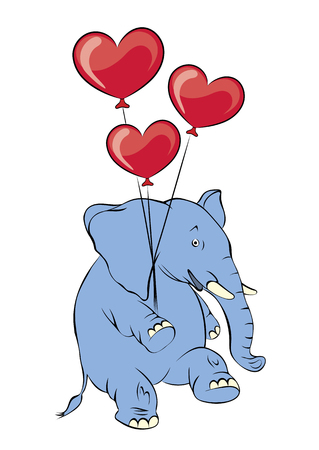 pink elephant: Illustration of a cheerful pink elephant with balloons in the form of heart. Valentine Card, Valentine Label.
