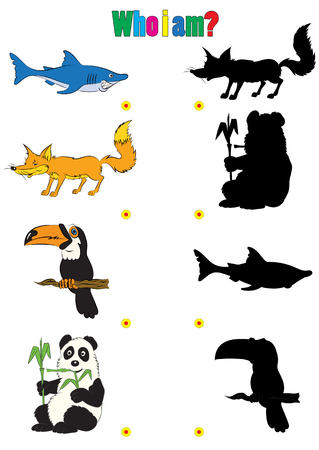 riddles: illustration of animation silhouettes of animals for the childrens book of riddles Illustration