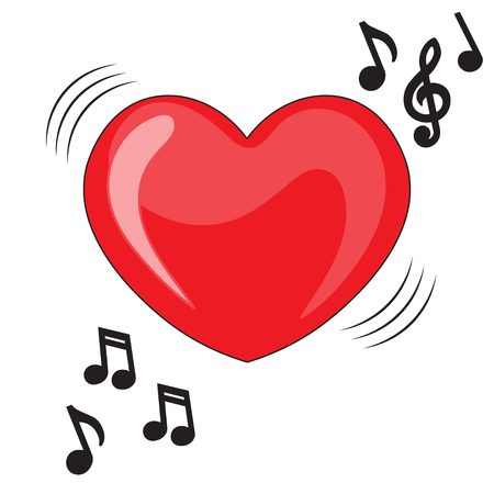 valentine musical note: Heart illustration with music notes. Heart music. Valentine Card, Valentine Label, Vector Illustration EPS 8 Illustration