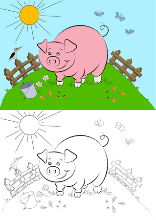 childrens book: Illstration of the cheerful and smiling pink pig for the childrens book