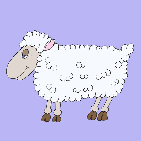 woolly: Illustration of a cheerful lamb with blue eyes for chidren book