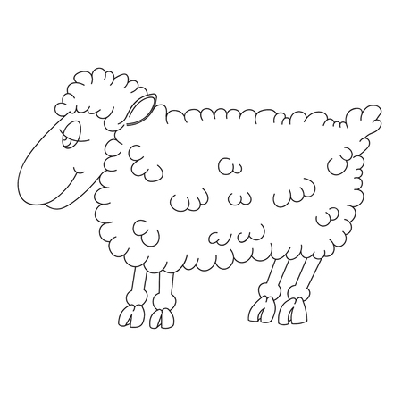 sheep eye: Illustration of a lamb contour for coloring book