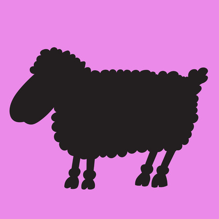 ewe: Illustration silhouette of a lamb silhouette on pink background Illustration
