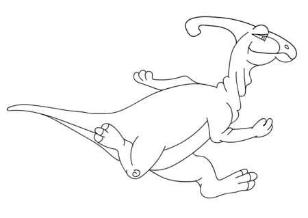 saurian: Illustration of the running Parazaurolof dinosaur for the childrens book of a coloring