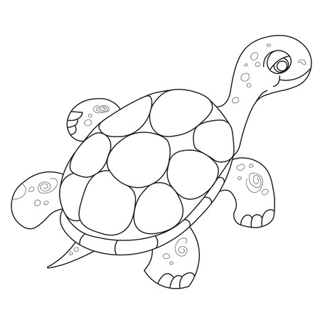 childrens book: Illustration of the floating turtle for the childrens book of a coloring Illustration