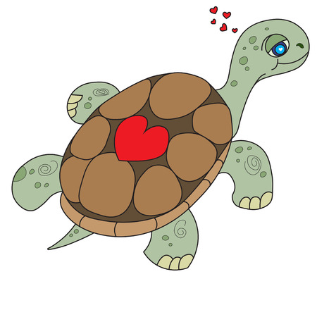 st  valentine's: Illustration of the floating turtle with heart on her armor for the childrens book of a coloring. St. Valentines Day.Valentine Card, Valentine Label. Vector Illustration EPS 8