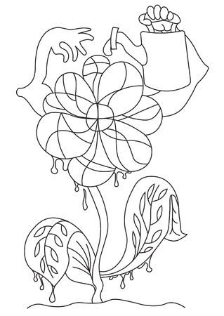 water's: Illustration of an abstract silhouette flower which waters itself. Illustration