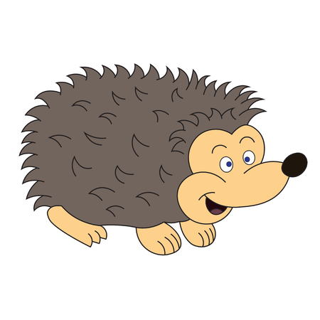 Illustration of a cheerful hedgehog for children book