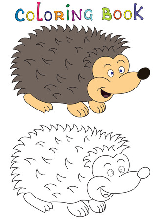 Illustration of a cheerful hedgehog for children coloring book