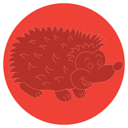 spiked: Illustration of a cheerful hedgehog for logo or web icon