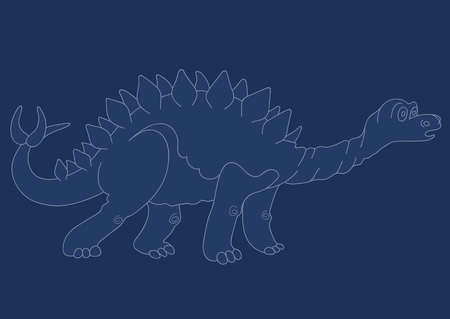 carboniferous: Illustration of a dinosaur silhouette Stegosaurus