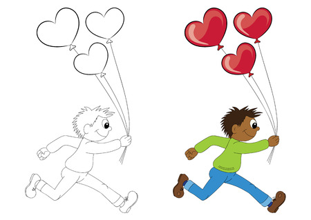 african boy: Illustration of a cartoon african boy running with balloons in the form of heart. Valentines Day.