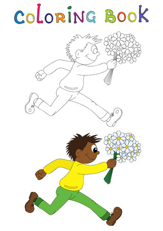 african boy: Illustration of a cartoon african boy running with flowers. Valentines Day