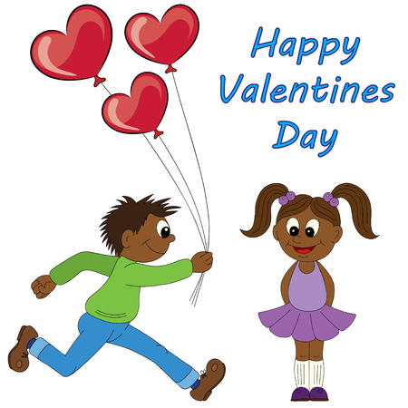 first form: Illustration of a cartoon african boy running with a bunch of flowers and cartoon african girl with balloons. Valentines Day