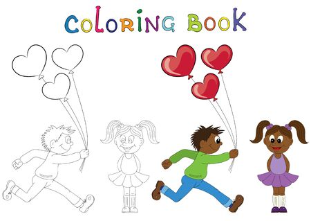 african boy: Illustration of a cartoon african boy running with a bunch of flowers and cartoon african girl with balloons. Valentines Day