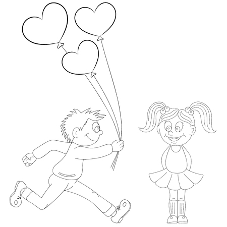 first form: Illustration of a cartoon boy running with a bunch of flowers and cartoon girl with balloons. Valentines Day Illustration
