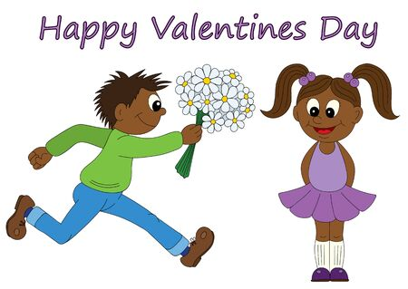 first form: Illustration of a cartoon african boy running with a bunch of flowers and cartoon african girl. Valentines Day