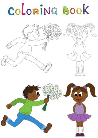african boy: Illustration of a cartoon african boy running with a bunch of flowers and cartoon african girl. Valentines Day