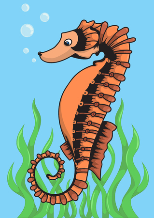bleb: Vector illustration of a sea horse for fun-filled childrens book Illustration