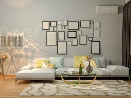 minimalist style: 3D render of interior design living in a studio apartment in a modern minimalist style. The illustration shows a corner sofa, desk  and a large floor lamp. Stock Photo