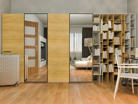 modern apartment: 3D render of interior design living in a studio apartment in a modern minimalist style. The illustration shows a wardrobe with mirror and bookshelves, a desk and a large floor lamp